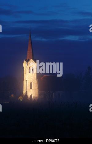 Night view of Baptist Church Jõelähtme in the Estonia Europe - Stock Photo