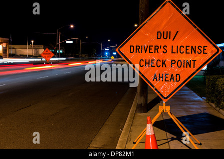 A DUI check point in Anaheim, CA. - Stock Photo