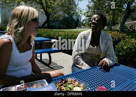 (PUBLISHED 06/01/2006,  B-8) May 30, 2006, San Diego, CA. USA. Mesa College freshman KENDRA JACKSON, right, has - Stock Photo