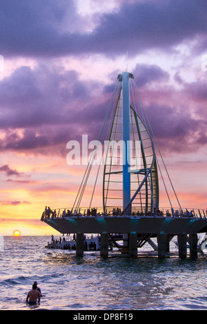Sail sculpture at sunset, Puerto Vallarta, Jalisco, Mexico - Stock Photo