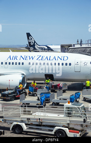 Baggage handlers loading suitcases onto an Air New Zealand aircraft at Auckland airport. North Island, New Zealand. - Stock Photo