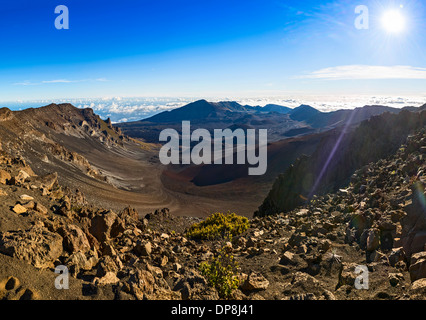 Panoramic view from the summit of Haleakala Volcano in Maui, Hawaii. - Stock Photo