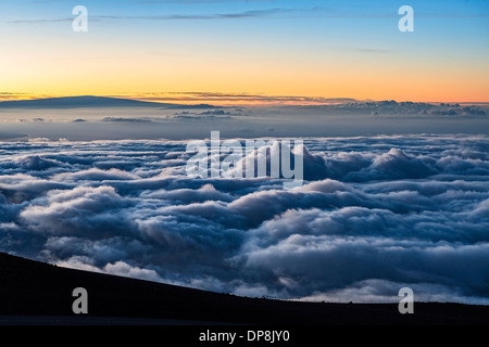 Sunrise from the summit of Haleakala Volcano in Maui, Hawaii. - Stock Photo