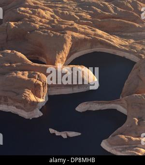 Aerial photography of Lake Powell on the Colorado River Arizona USA - Stock Photo