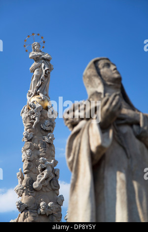 Plague Column in Hlavne Nam (Main Square), Kosice, Kosice Region, Slovakia - Stock Photo