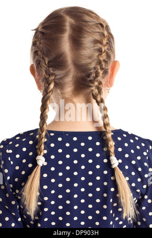 little girl with pigtails on white background - Stock Photo