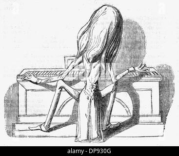 Caricature of Franz Liszt at the keyboard - Stock Photo