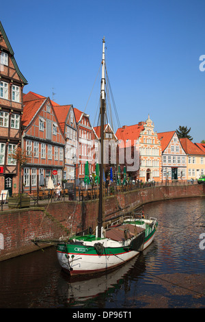 Altes Land, Stade, boat  Ewer WILLI in the old harbor, Lower Saxony, Germany, Europe - Stock Photo