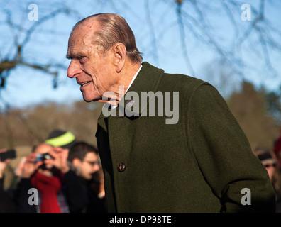 Prince Phillip  Duke of Edinburgh attends the Royal family service at Sandringham on Christmas Day 2013 - Stock Photo