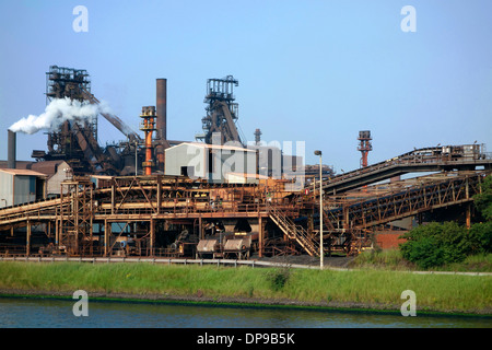 Steelworks of ArcelorMittal Gent, world's largest steel producer, port of Ghent, East Flanders, Belgium - Stock Photo