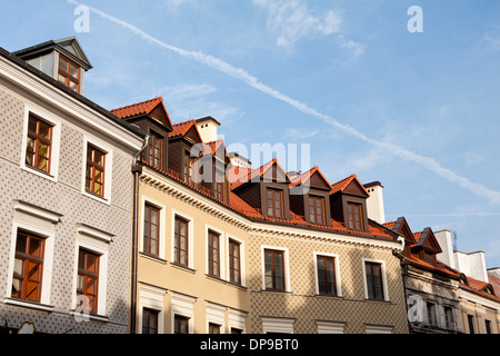 tenement houses roofs in Lublin - Stock Photo