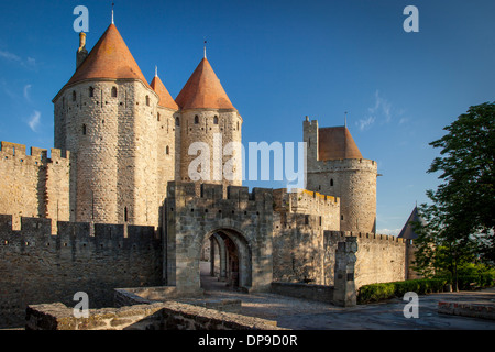 Front entry gate to medieval village of Carcassonne, Occitanie, France - Stock Photo