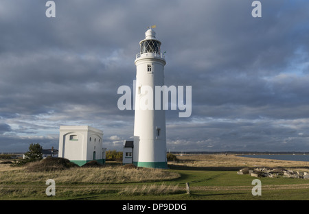 Hurst Point lighthouse located at the end of the long shingle spit next to Hurst Castle near Milford-on-Sea, England, - Stock Photo