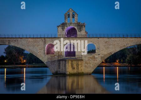 Pont Saint Benezet and Chapelle Saint Nicholas (12th C) over River Rhone at Avignon, Bouches-du-Rhone, Provence - Stock Photo