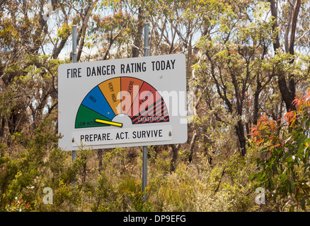 Fire Danger warning sign for bush fire forest fires in Blue Mountains, New South Wales, Australia - Stock Photo