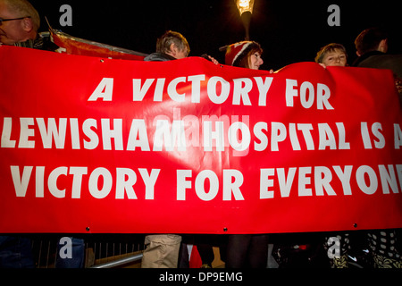 NHS Protest outside BBC TV Question Time in Lewisham, London, UK. - Stock Photo