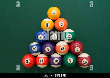 a pool table with balls set up ready to play in a pub or bar often a ...