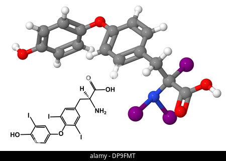 Triiodothyronine hormone molecule and chemical structure isolated on white background - Stock Photo