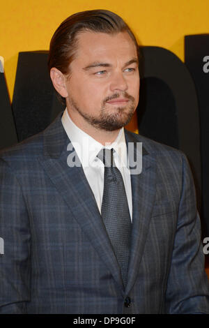 London, UK. 9th January 2014. Leonardo DiCaprio arrives at the UK Premiere - the Wolf of Wall Street at Leicester - Stock Photo