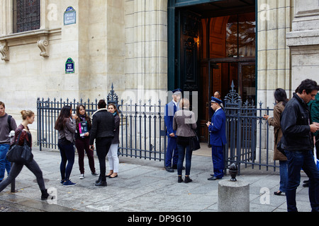 Main entrance to Sorbonne in Paris - Stock Photo
