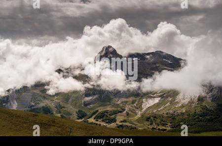 View from the Col d'Aubisque towards Pic de la Latte de Bazen in the French Pyrenees - Stock Photo