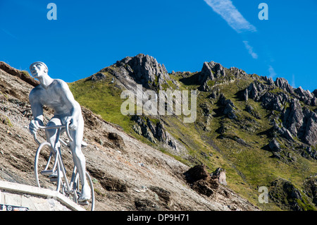 Monument of the Geant du Tourmalet at the top of the Col du Tourmalet in the French Pyrenees - Stock Photo