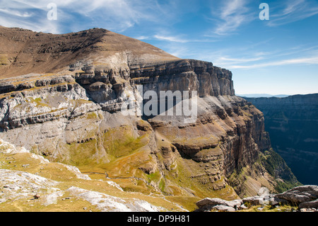 Morron de Tobacor mountain in the Ordesa Valley National Park in the Spanish Pyrenees, from Circo de Cotatuero - Stock Photo