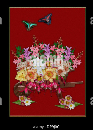 Spectacular floral art - cluster of bright spring flowers daylilies, alstroemerias, fuchsias spilling out of wooden - Stock Photo