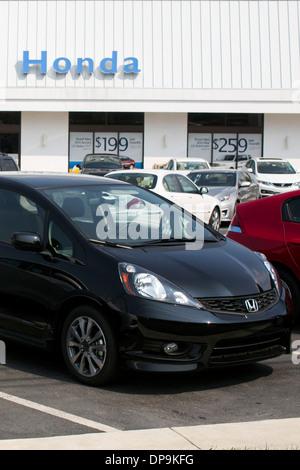 A Honda Dealer Lot In Suburban Maryland.   Stock Photo