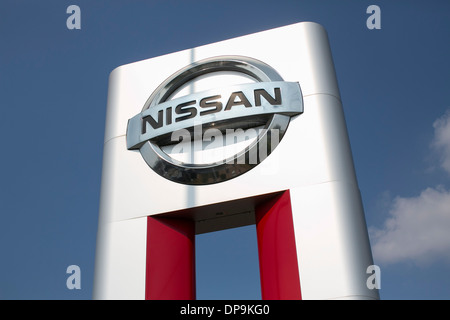A Nissan Dealer Lot In Suburban Maryland.   Stock Photo