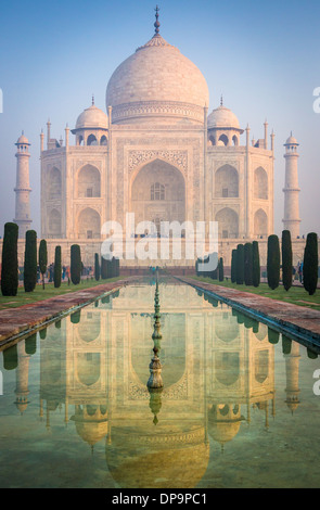 The Taj Mahal is a white marble mausoleum located in Agra, Uttar Pradesh, India - Stock Photo