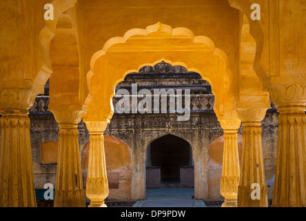 Amer Fort is located in Amer 6.8 mi from Jaipur, Rajasthan state, India - Stock Photo