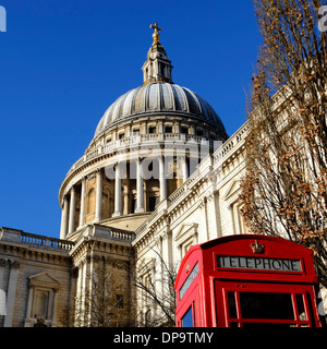 Red Telephone Box by St Pauls Cathedral, London - Stock Photo