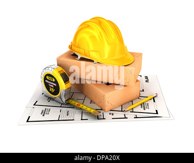 3d construction concept, isolated white background, 3d image - Stock Photo