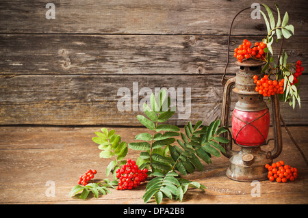 still life with old lamp and ashberry on wooden background - Stock Photo