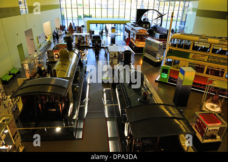General view of Interior of new Riverside Museum of Transport, Glasgow, Scotland - Stock Photo