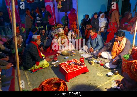 Bridegroom at traditional Hindu Gaddi Himachal Pradesh village wedding, Kereri,  Northern India. - Stock Photo