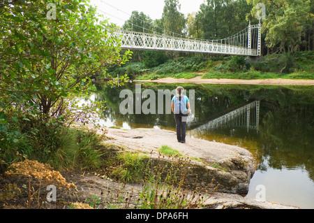 Cambus o' May bridge - Victorian suspension bridge over the River Dee, near Ballater, Aberdeenshire. - Stock Photo