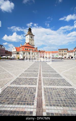Council House in Piata Sfatului, Brasov Transylvania, Romania - Stock Photo