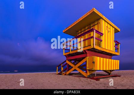 South Beach, Miami, Florida, USA lifeguard post at twilight. - Stock Photo