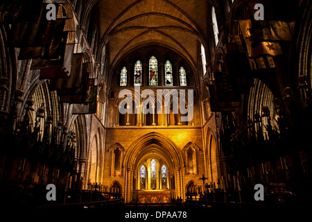Inside view of St. Patrick's Cathedral in Dublin, Ireland, Europe - Stock Photo