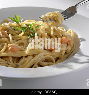 Bowl of seafood pasta - Stock Photo