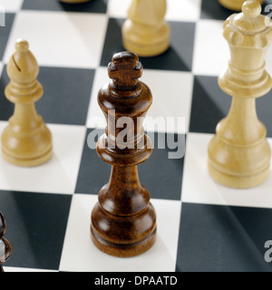 Close up of chess pieces on board - Stock Photo