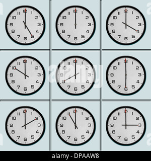 Clocks with different time zone - Stock Photo