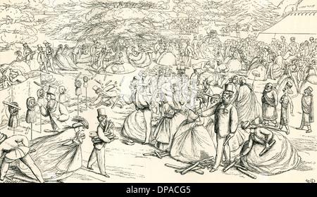 English society enjoying a fair in the 19th century. - Stock Photo