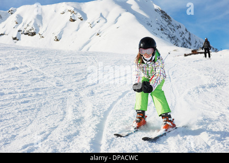 Young girl skiing, Les Arcs, Haute-Savoie, France - Stock Photo