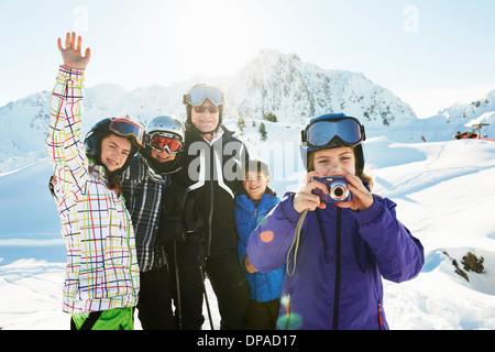 Portrait of skiing family, Les Arcs, Haute-Savoie, France - Stock Photo