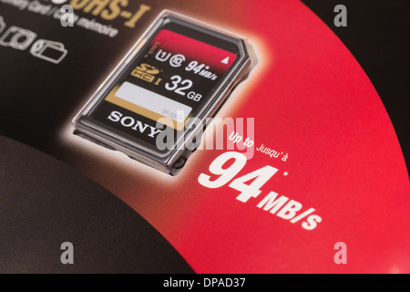 Sony - large fast Secure Digital memory card - 32GB, 94MB/s - Stock Photo