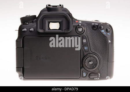 Digital photography equipment - Canon EOS 70D back view, screen folded away - Stock Photo
