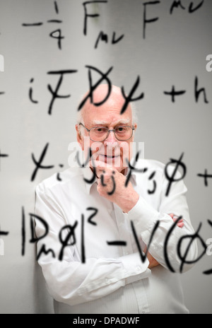 Professor Peter Higgs British theoretical physicist, Nobel Prize laureate and emeritus professor at the University - Stock Photo